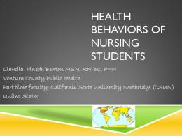 HEALTH BEHAVIORS OF NURSING STUDENTS