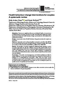 Health behaviour change interventions for couples: A ... - Core