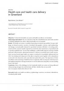 Health care and health care delivery in Greenland - CiteSeerX