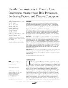 Health Care Assistants in Primary Care Depression