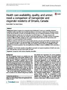 Health care availability, quality, and unmet need: a comparison of ...