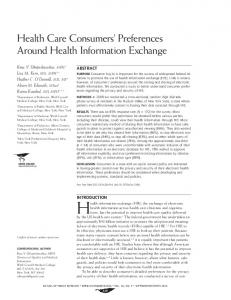 Health Care Consumers' Preferences Around Health Information ...