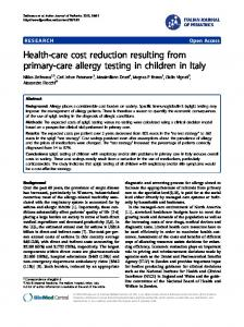 Health-care cost reduction resulting from primary-care ... - CiteSeerX