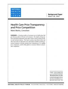 Health Care Price Transparency and Price Competition