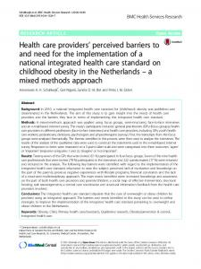 Health care providers' perceived barriers to and