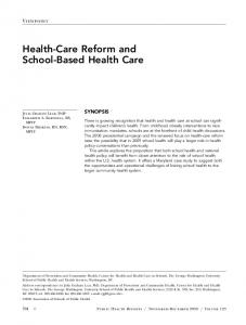 Health-Care Reform and School-Based Health Care - SAGE Journals