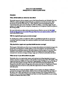 health care reform frequently asked questions - NH.gov