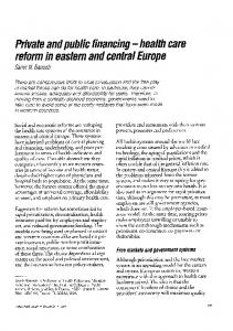 health care reform in eastern and central Europe - World Health ...