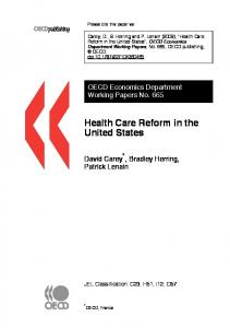 Health Care Reform in the United States - CiteSeerX