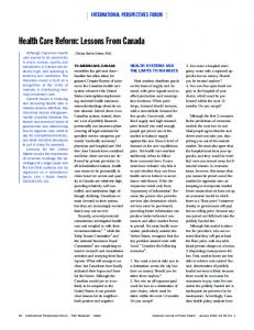 Health Care Reform: Lessons From Canada - CiteSeerX