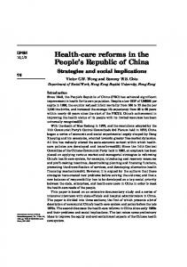 Health-care reforms in the People's Republic of China - CiteSeerX