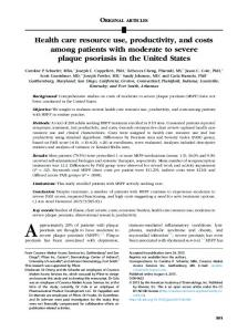 Health care resource use, productivity, and costs among ... - Core