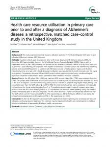Health care resource utilisation in primary care