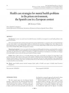 Health care strategies for mental health problems in the prison ...
