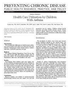 Health Care Utilization by Children With Asthma
