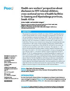 Health care workers' perspectives about disclosure ... - Semantic Scholar