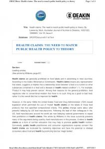 health claims : the need to match public health policy ...