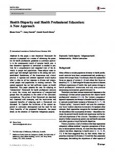 Health Disparity and Health Professional Education: A