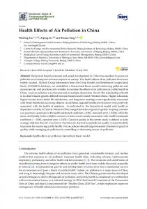 Health Effects of Air Pollution in China - MDPI