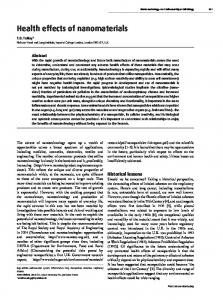 Health effects of nanomaterials - Semantic Scholar