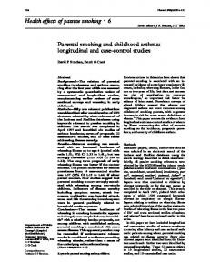 Health eVects of passive smoking c 6 Parental smoking and childhood ...