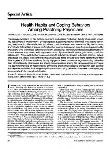 Health Habits and Coping Behaviors Among Practicing Physicians