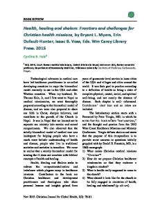 Health, healing and shalom - Christian Journal for Global Health