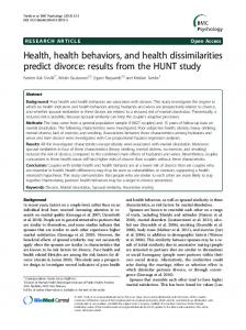 Health, health behaviors, and health dissimilarities predict divorce ...
