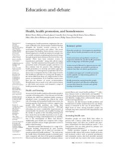 Health, health promotion, and homelessness