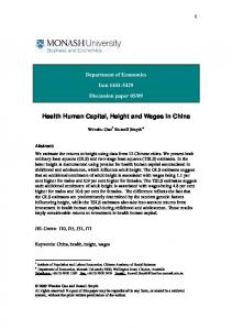 Health Human Capital, Height and Wages in China - CiteSeerX