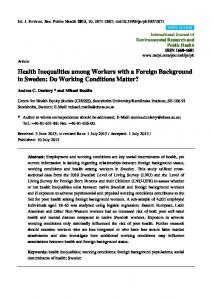 Health Inequalities among Workers with a Foreign ... - BioMedSearch