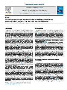 Health information and communication technology in healthcare ...