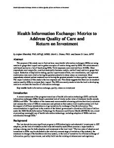 Health Information Exchange: Metrics to Address Quality of Care and ...