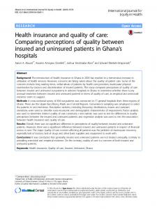 Health insurance and quality of care: Comparing perceptions of quality ...