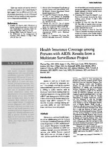 Health Insurance Coverage among Persons with AIDS: Results ... - NCBI