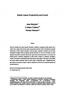 Health, Labour Productivity and Growth Joan