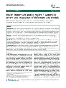 Health literacy and public health - BioMedSearch
