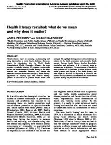 Health literacy revisited: what do we mean and ... - Semantic Scholar