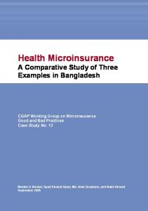 Health Microinsurance, A Comparative Study of Three Examples in ...