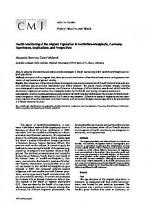 Health Monitoring of the Migrant Population in Northrhine-Westphalia ...
