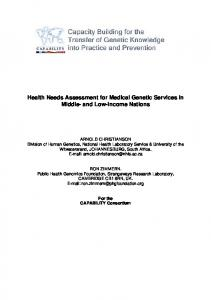 Health Needs Assessment for Medical Genetic Services in Middle ...