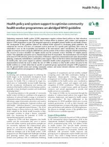 Health policy and system support to optimise community ... - The Lancet