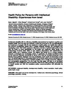 Health Policy for Persons with Intellectual Disability