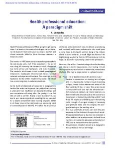 Health professional education: A paradigm shift