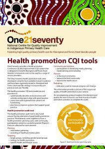 Health promotion CQI tools