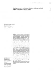 Health promotion in professional education: challenges in ... - SciELO