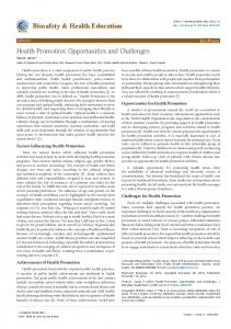 Health Promotion: Opportunities and Challenges - OMICS International