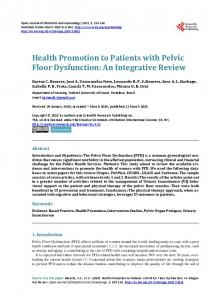 Health Promotion to Patients with Pelvic Floor Dysfunction - Scientific