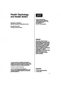 Health Psychology and Social Action - SAGE Journals