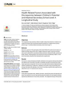 Health-Related Factors Associated with ... - Semantic Scholar